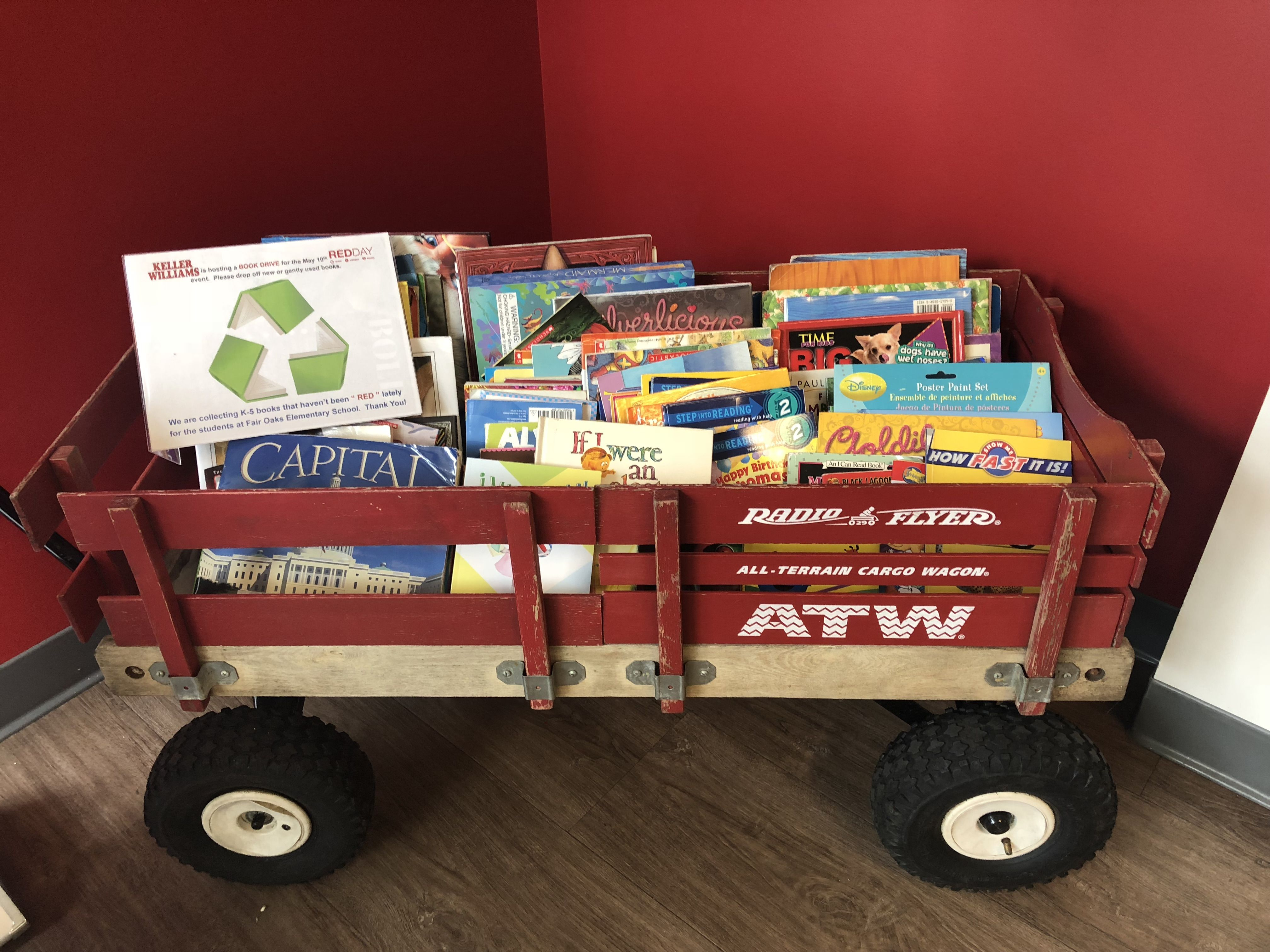 Book Drive Pizza Party Red Wagon